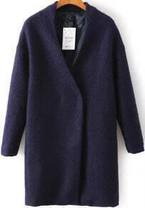 Navy V Neck Long Sleeve Woolen Coat