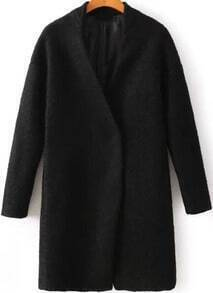 Black V Neck Long Sleeve Woolen Coat