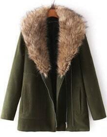 Green Long Sleeve Faux Fur Lapel Woolen Coat