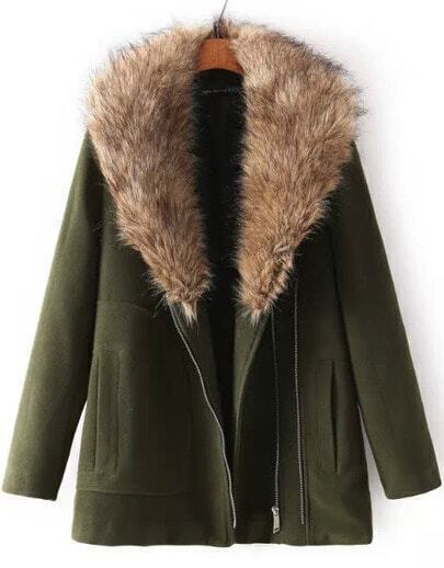 Green Long Sleeve Faux Fur Lapel Woolen Coat