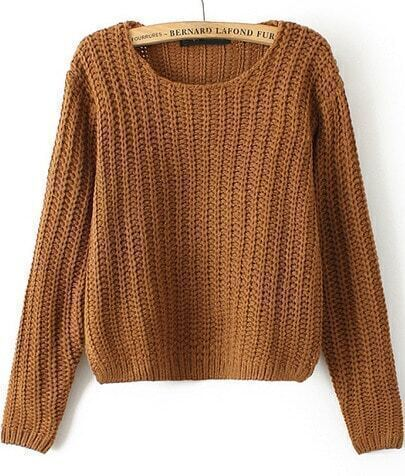 Khaki Round Neck Cable Knit Corp Sweater