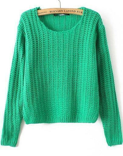 Green Round Neck Cable Knit Corp Sweater