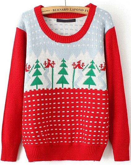 Red Christmas Tree Knit Sweater