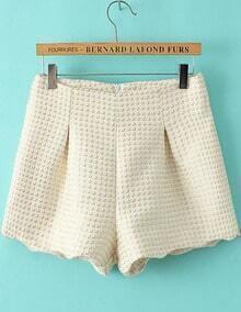 White Zipper Plaid Woolen Shorts