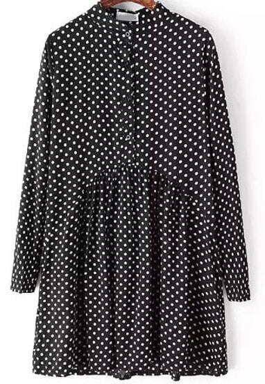 Black Stand Collar Polka Dot Vintage Dress