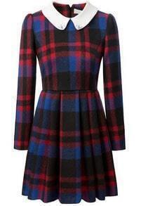 Red Lapel Long Sleeve Woolen Plaid Dress