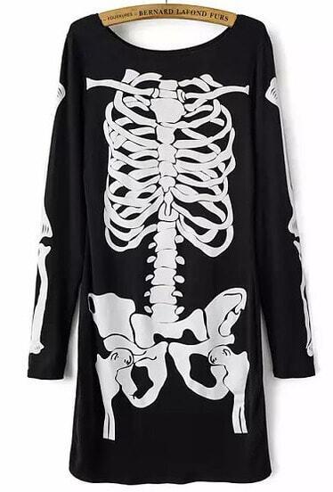 Black Long Sleeve Skull Print Dress