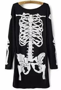 Black Long Sleeve Skull Print Dress