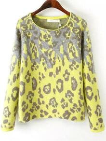 Yellow Long Sleeve Leopard Print Knit Sweater