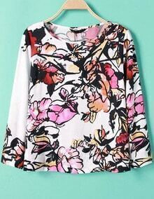 White Long Sleeve Ink Floral Print Blouse