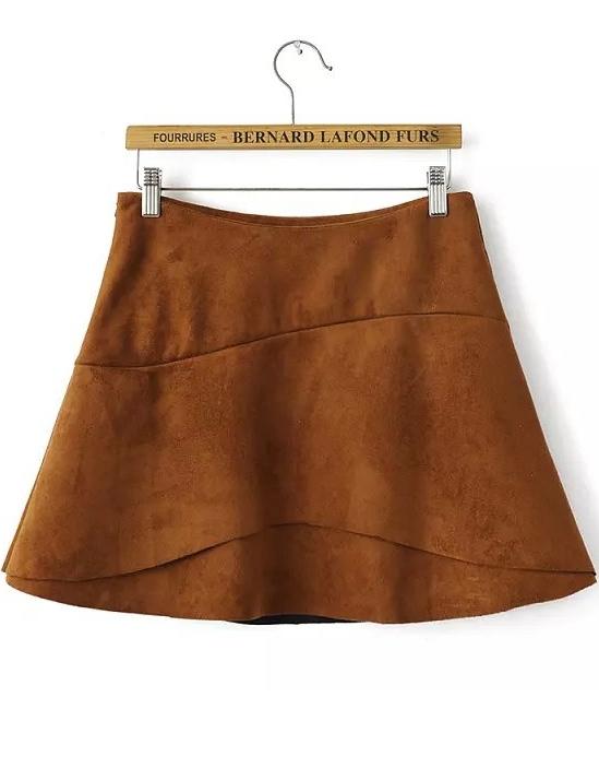 Khaki A Line Suede Skirt -SheIn(Sheinside)