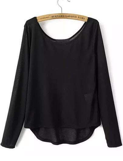 Camiseta cuello redondo manga larga-negro