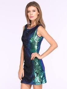 Green Sleeveless Sequined Party Dress