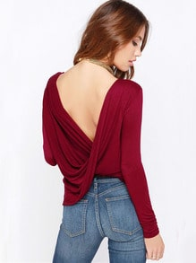 Wine Red Long Sleeve Cross Backless T-shirt
