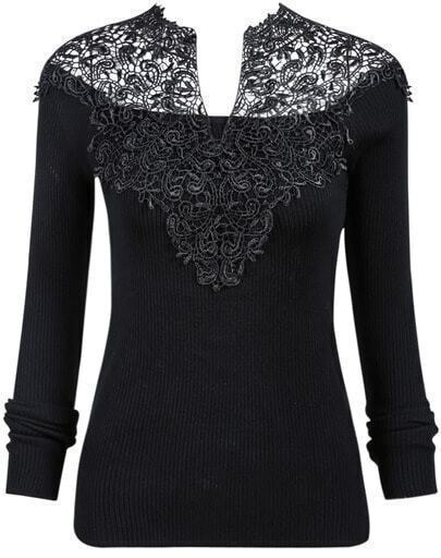 Black V-Neck Crochet Ribbed Sweater