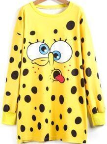Yellow Long Sleeve Spongebob Print Dress