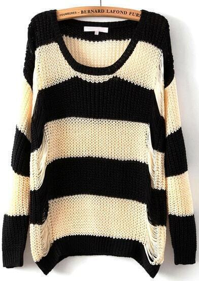 Black Apricot Long Sleeve Striped Hollow Sweater