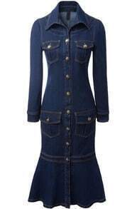 Navy Cowgirls Lapel Long Sleeve Slim Denim Dress