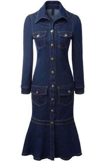 Navy Cowgirls Lapel Long Sleeve Slim Denim Dress pictures