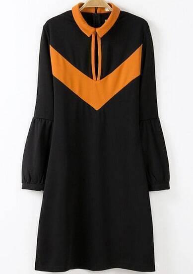 Black Lapel Puff Sleeve Slim Dress