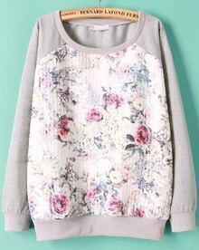 Grey Long Sleeve Floral Print Sweatshirt