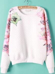 White Long Sleeve Floral Print Sweatshirt