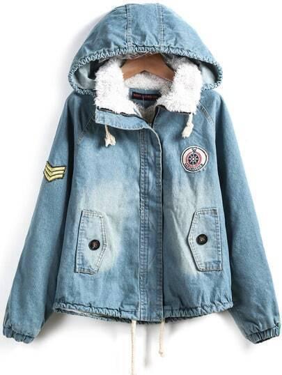 Blue Hooded Long Sleeve Bleached Crop Denim Coat