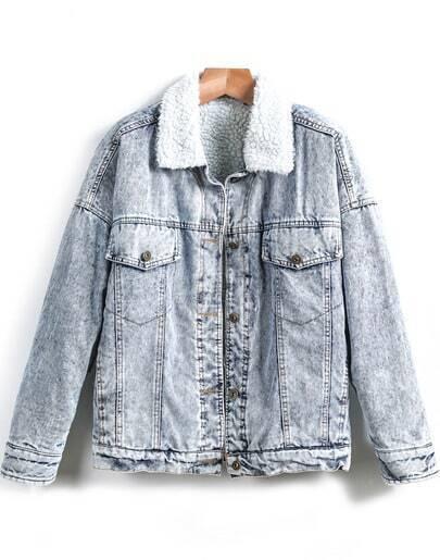 Blue Long Sleeve Pockets Crop Denim Coat