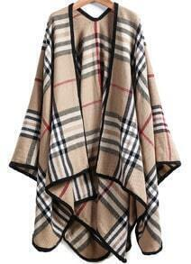 Khaki Plaid Loose Cape Outerwear