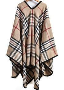 khaki plaid loose cape outerwear shein sheinside. Black Bedroom Furniture Sets. Home Design Ideas