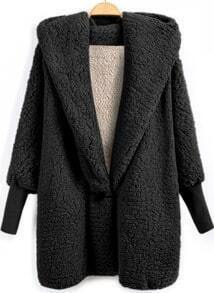 Black Hooded Batwing Long Sleeve Loose Coat