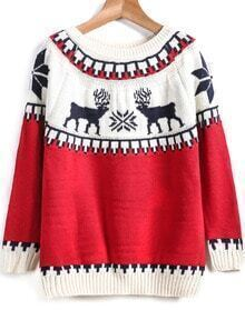 Red Long Sleeve Deer Print Knit Sweater