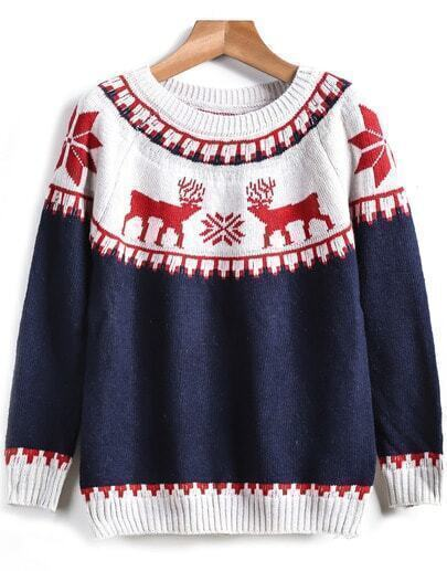 Blue Long Sleeve Deer Print Knit Sweater