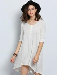 White Long Sleeve High Low Dress