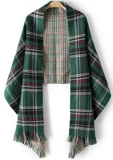 Green Plaid Tassel Scarve