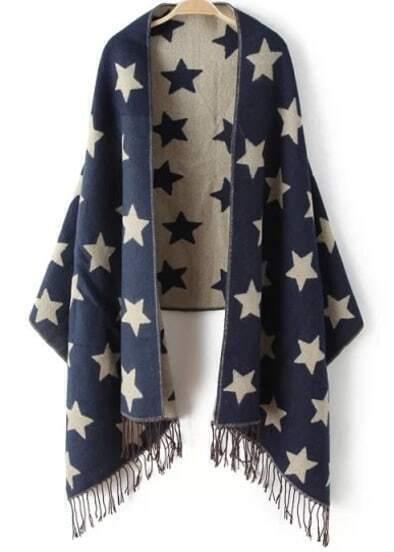 Navy Stars Print Tassel Scarve