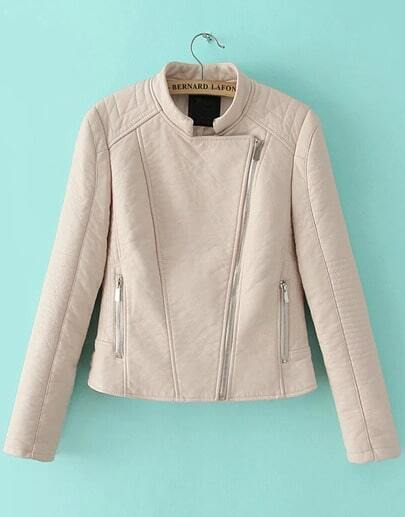 Apricot Stand Collar Long Sleeve Crop Jacket