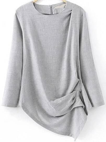 Grey Long Sleeve Asymmetrical Blouse