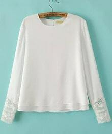 White Long Sleeve Lace Loose Chiffon Blouse