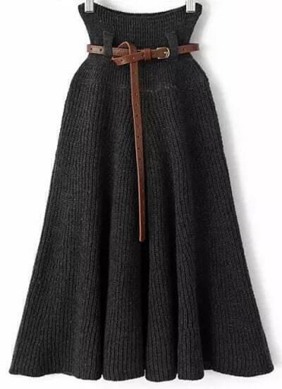 Grey Pleated Knit Belt Skirt