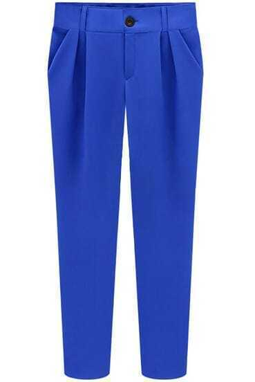 Blue Slim Pockets Pencil Pant