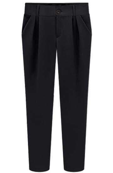 Black Slim Pockets Pencil Pant