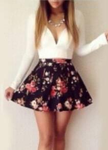 Black Floral Flare Dress