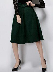 Army Green A Line Woolen Skirt