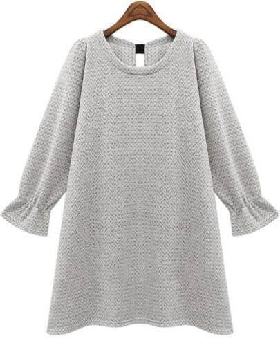 Grey Long Sleeve Bow Loose Sweater