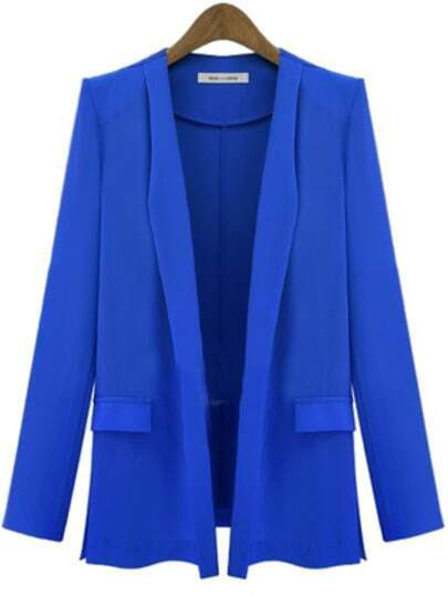 Blue Lapel Long Sleeve Slim Blazer