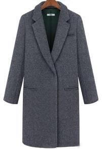 Grey Lapel Long Sleeve Pockets Woolen Coat