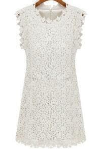White Sleeveless Floral Crochet Lace Dress