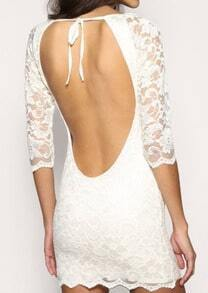 White Half Sleeve Backless Bodycon Lace Dress
