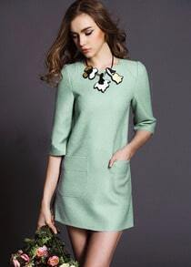 Green Half Sleeve Pockets Woolen Dress